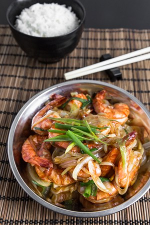 Stir-Fried Butter Garlic Prawns with Soy Sauce